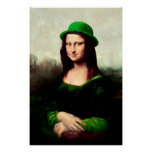 St Patrick's Day - Lucky Mona Lisa Poster