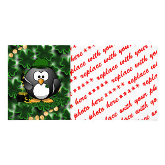 St. Patrick's Day Lucky Penguin with Pot Of Gold Personalised Photo Card