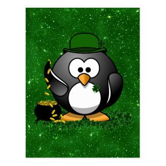 St. Patrick's Day Lucky Penguin with Pot Of Gold Postcard