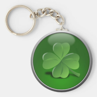 St. Patrick's Day Lucky Shamrock Basic Round Button Key Ring