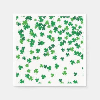 St Patricks Day Lucky Shamrock Pattern Disposable Serviettes