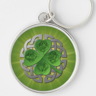 St. Patrick's Day Lucky Shamrock Silver-Colored Round Key Ring