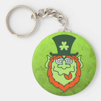 St Patrick's Day Mad Leprechaun Basic Round Button Key Ring