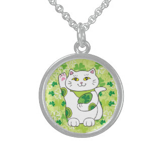 St. Patrick's Day Maneki Neko (Lucky Cat) Round Pendant Necklace