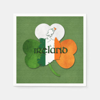 St. Patrick's Day Map of Ireland/Clover Disposable Serviettes
