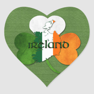 St. Patrick's Day Map of Ireland/Clover Heart Sticker