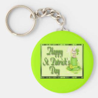 St Patricks Day Mouse Hat Clover Key Ring