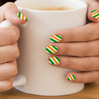 St Patricks Day nail extensions   Irish flag color Minx Nail Art