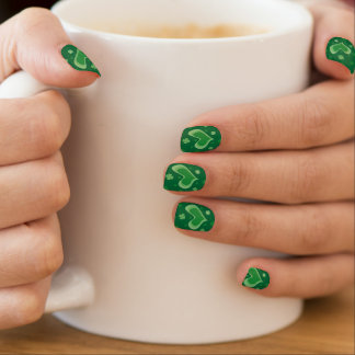 St Patricks Day nails with heart and lucky clovers Fingernail Transfer