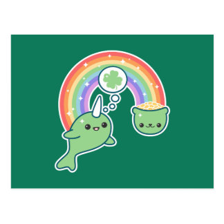 St Patrick's Day Narwhal Postcard