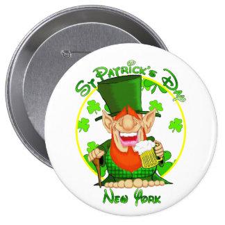 St Patrick's Day  New York 10 Cm Round Badge