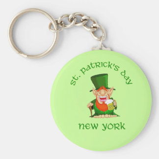 St Patrick's Day ~ New York  Patty O party Basic Round Button Key Ring