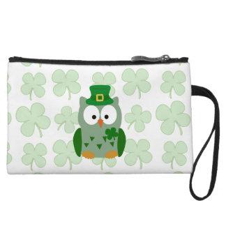 St. Patrick's Day Owl Wristlet