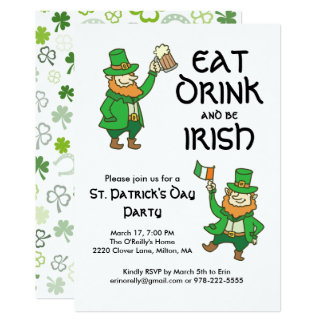 St Patricks Day Party Eat Drink Irish Leprechaun 13 Cm X 18 Cm Invitation Card