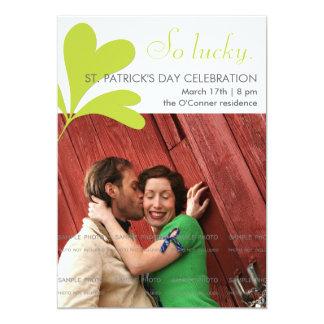 St Patricks Day Party Lucky Shamrocks Green Photo 13 Cm X 18 Cm Invitation Card