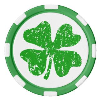 St Patricks Day party poker chips   Green shamrock