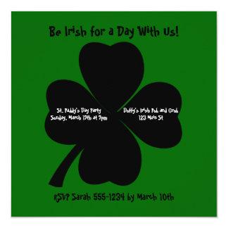 St. Patrick's Day Party Shamrock Custom Invitations