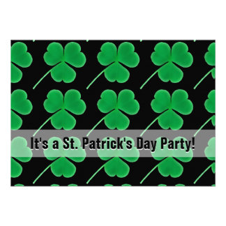 St. Patrick's Day Party Shamrocks Green and Black Cards