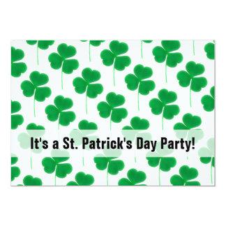 St. Patrick's Day Party Shamrocks Green and White 13 Cm X 18 Cm Invitation Card