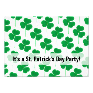 St. Patrick's Day Party Shamrocks Green and White Invite