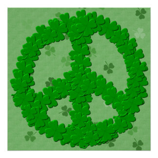St Patrick's Day Peace Sign Poster