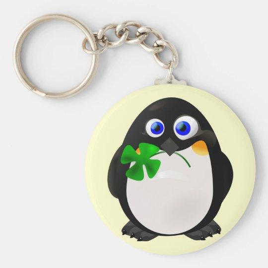 St. Patrick's Day Penguin Basic Round Button Key Ring