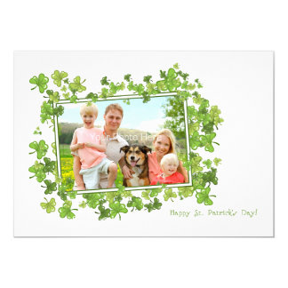 St. Patrick's Day Photo Card, Shamrock Frame 13 Cm X 18 Cm Invitation Card