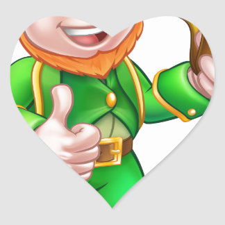 St Patricks Day Pipe Leprechaun Heart Sticker
