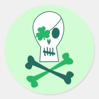 St. Patrick's Day Pirate Round Sticker