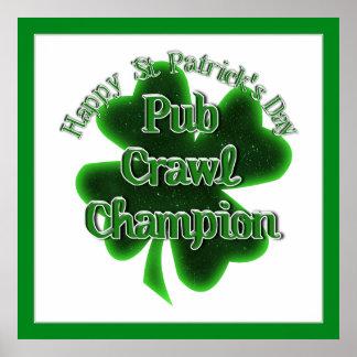 St Patrick's Day Pub Crawl Champion Posters