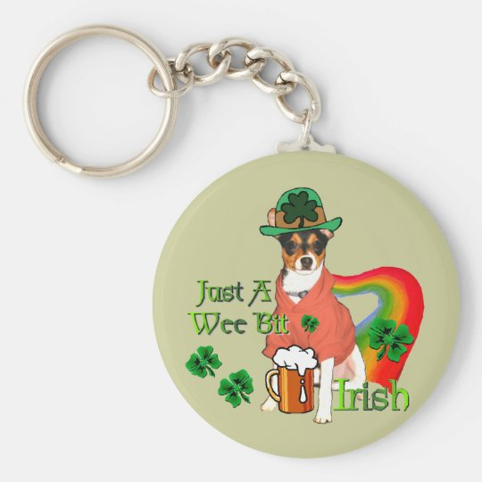 St. Patrick's Day Rat Terrier Basic Round Button Key Ring