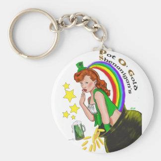 St. Patrick's Day - Redhead Lady Leprechaun Basic Round Button Key Ring