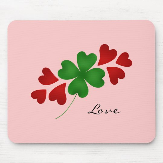 St. Patrick's day romance shamrock and hearts Mouse Pad