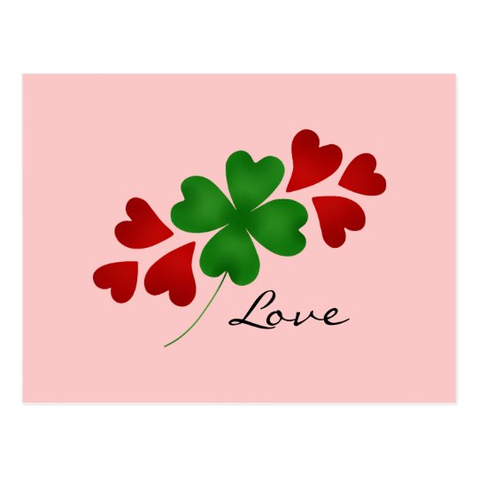 St. Patrick's day romance shamrock and hearts Postcard
