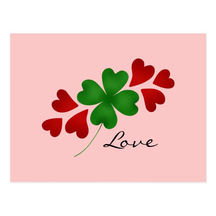 St. Patrick's day romance shamrock and hearts Postcard