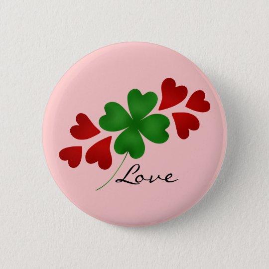 St Patricks day | Romantic shamrock hearts 6 Cm Round Badge