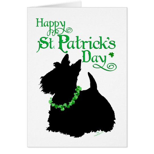 St Patrick's Day Scottish Terrier Card