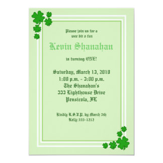 "St. Patrick's Day Shamrock Birthday Invitation 5x7 5"" X 7"" Invitation Card"