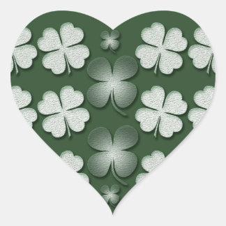 St Patricks Day shamrock clover pattern Heart Sticker