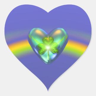 St. Patricks Day Shamrock Heart Heart Stickers