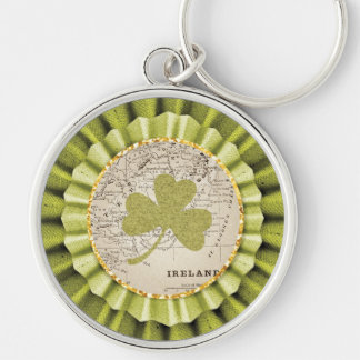St. Patrick's Day Shamrock Leaf Keychain Silver-Colored Round Keychain