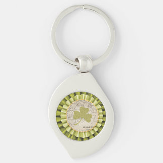 St. Patrick's Day Shamrock Leaf Keychian Silver-Colored Swirl Key Ring