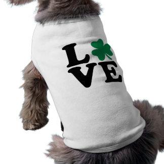 St. Patrick's day shamrock love Sleeveless Dog Shirt
