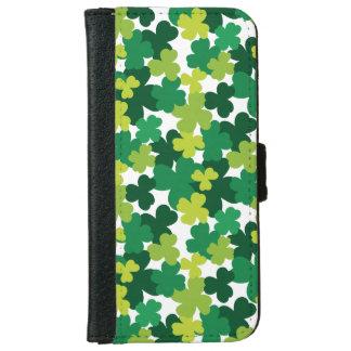 St. Patrick's Day Shamrock Pattern iPhone 6 Wallet Case