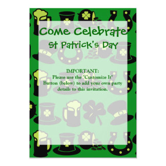 St Patricks Day Shamrock Pot of Gold Green Beer 13 Cm X 18 Cm Invitation Card