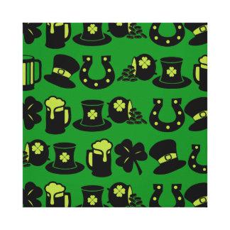 St Patricks Day Shamrock Pot of Gold Green Beer Stretched Canvas Prints