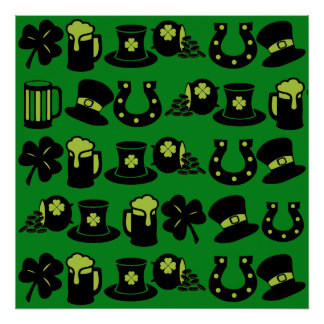 St Patricks Day Shamrock Pot of Gold Green Beer Posters