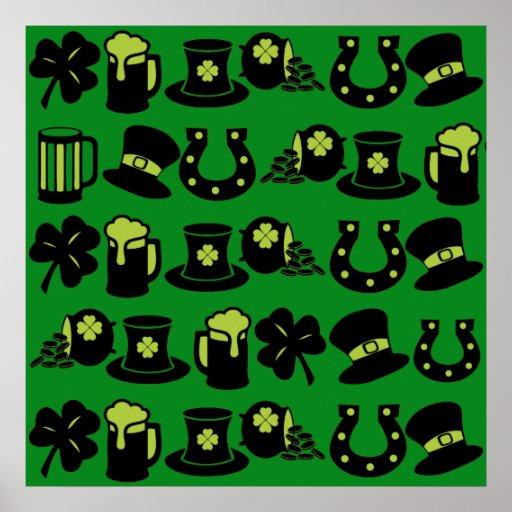 St Patricks Day Shamrock Pot of Gold Green Beer Posters