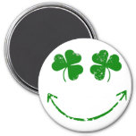 St Patrick's Day Shamrock Smiley face humour 7.5 Cm Round Magnet