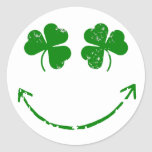St Patrick's Day Shamrock Smiley face humour Round Stickers